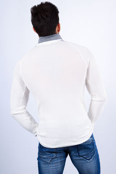 pull homme blanc  1411