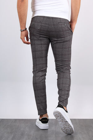 Pantalon carreaux homme gris/bordo 19022