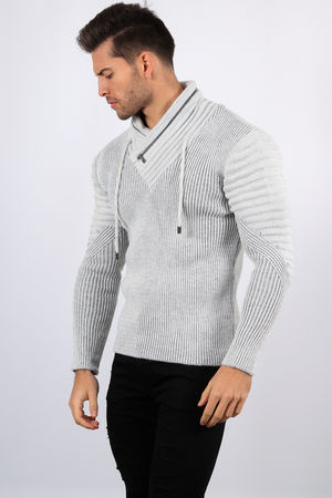 pull homme blanc gris 5016