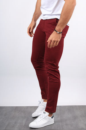 Chino homme bordeaux 002