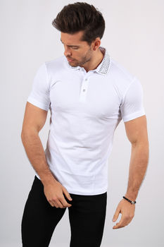 Polo homme blanc strass 465