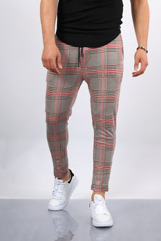 pantalon homme carreaux rouge UP38