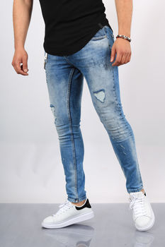 Jeans homme skinny bleu clair  022