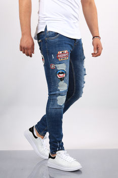 Jeans homme skinny bleu patchs  018