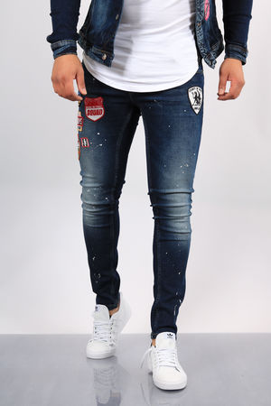 Jeans homme skinny bleu patchs 011