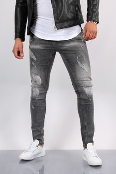 Jeans homme skinny gris 024