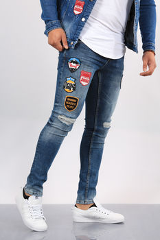 Jeans homme skinny bleu patchs  012