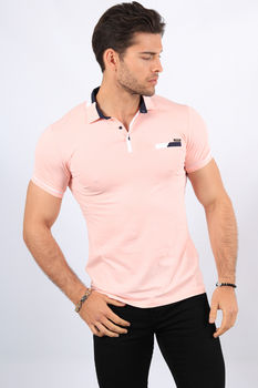 Polo homme rose  8681