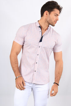 chemise manche courte homme rose  20173