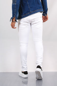 Jeans homme skinny blanc 041