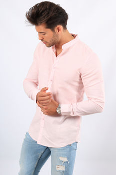 chemise homme lin col mao rose 323