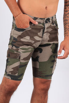 Short Jeans homme skinny camouflage 060