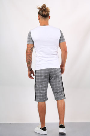 Ensemble t-shirt + short  carreaux blanc ES1