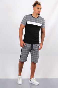 Ensemble t-shirt + short  carreaux noir ES1