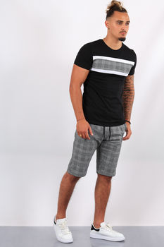 Ensemble t-shirt + short carreaux noir/blanc   ES7