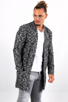 Gilet long homme noir chiné 19602/03