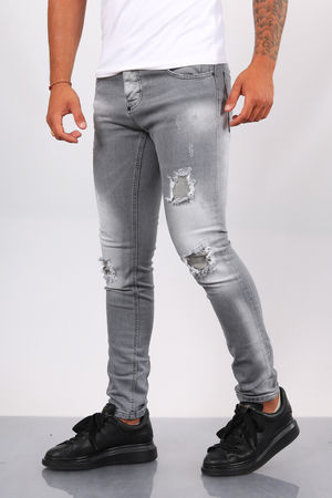 Jeans homme skinny gris 090