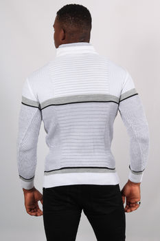 Pull homme blanc col montant  5201