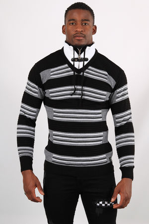 Pull homme noir col montant  5225