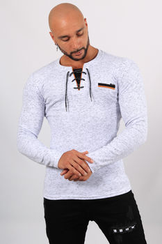 Pull homme blanc chiné  2613