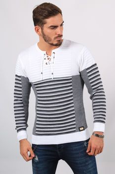 Pull homme  lacet blanc  5240