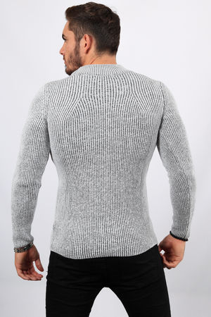 Pull homme blanc/gris col montant 2314