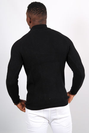 Pull homme noir col montant 2342