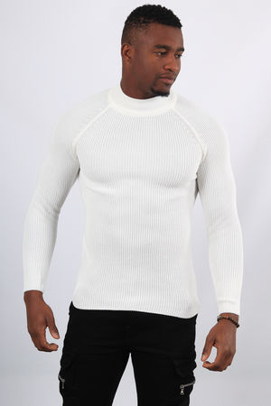 Pull homme blanc col montant 2346