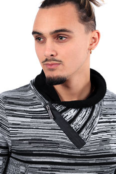 Pull homme  col montant noir/blanc 1890
