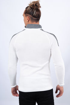 Pull homme  col montant blanc 1416