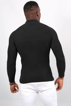 Pull homme noir col montant 2346
