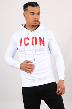 Sweat blanc à capuche icon hd19