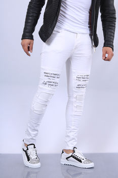Jeans homme blanc skinny 66113