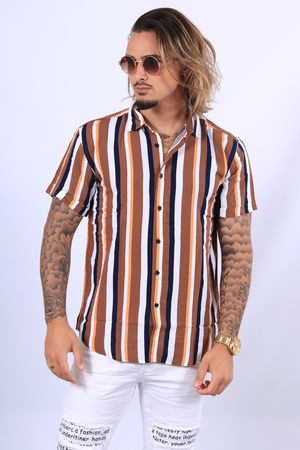 chemise homme fluide coffee  Q085