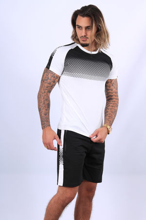 Ensemble t-shirt + short  blanc/noir  85/2