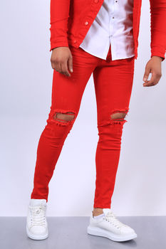 Jeans homme rouge 339