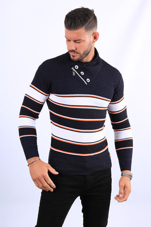 Pull homme bleu col montant  52118