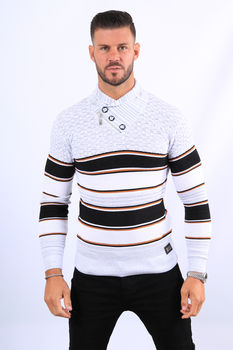 Pull homme blanc col montant  52118