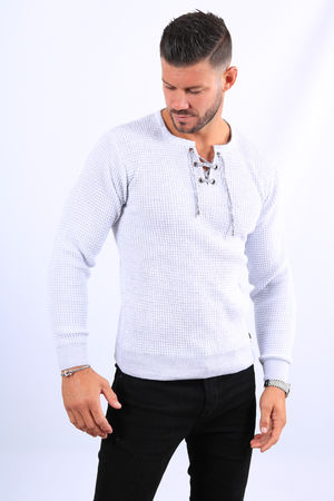 Pull homme blanc col montant  52132