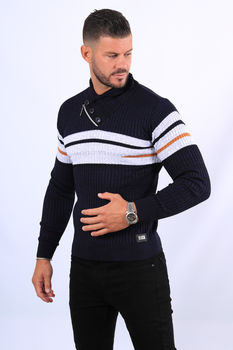 Pull homme bleu col montant  5245