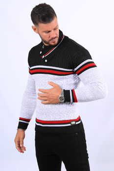Pull homme blanc col montant  52131