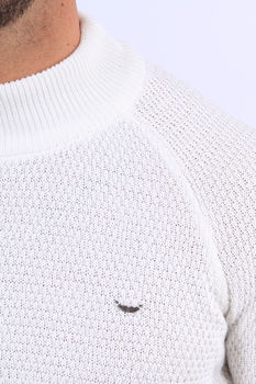 Pull homme blanc col montant 2342