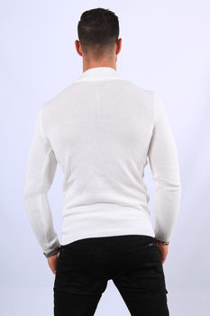 Pull homme blanc col montant 2328