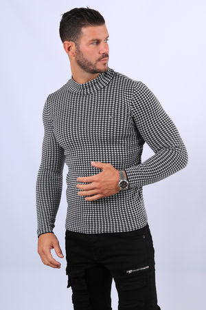 Pull homme blanc chiné  col montant 2378