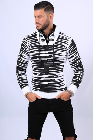 Pull homme blanc col montant  5241
