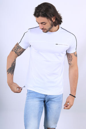 T-shirt homme col rond blanc 1282