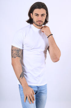 T-shirt homme col rond montant blanc 1236