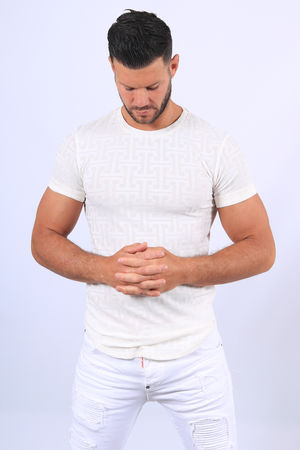 T-shirt homme blanc relief 610