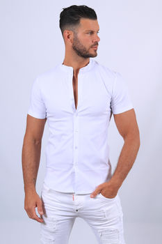 Chemise manches courtes blanche mao 061