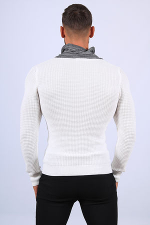Pull  homme blanc col montant 1410